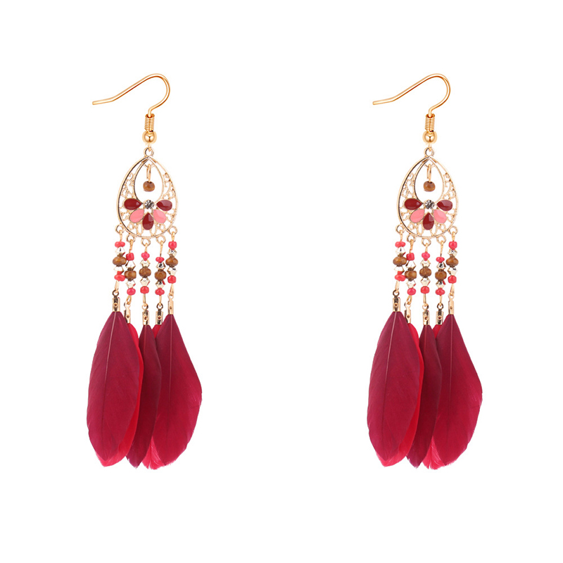Boucles d'Oreilles Attrape Rêves en Or Rouge bijoux femme tenue unique style chic et bohème turquoise belle or massif style indien amérindienne capteurs de rêves