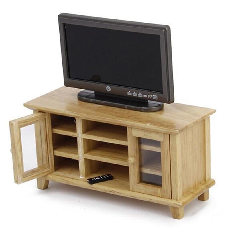 Casa De Muñecas Moderna gabinete de Soporte de TV en miniatura de caoba mobiliario de Sala