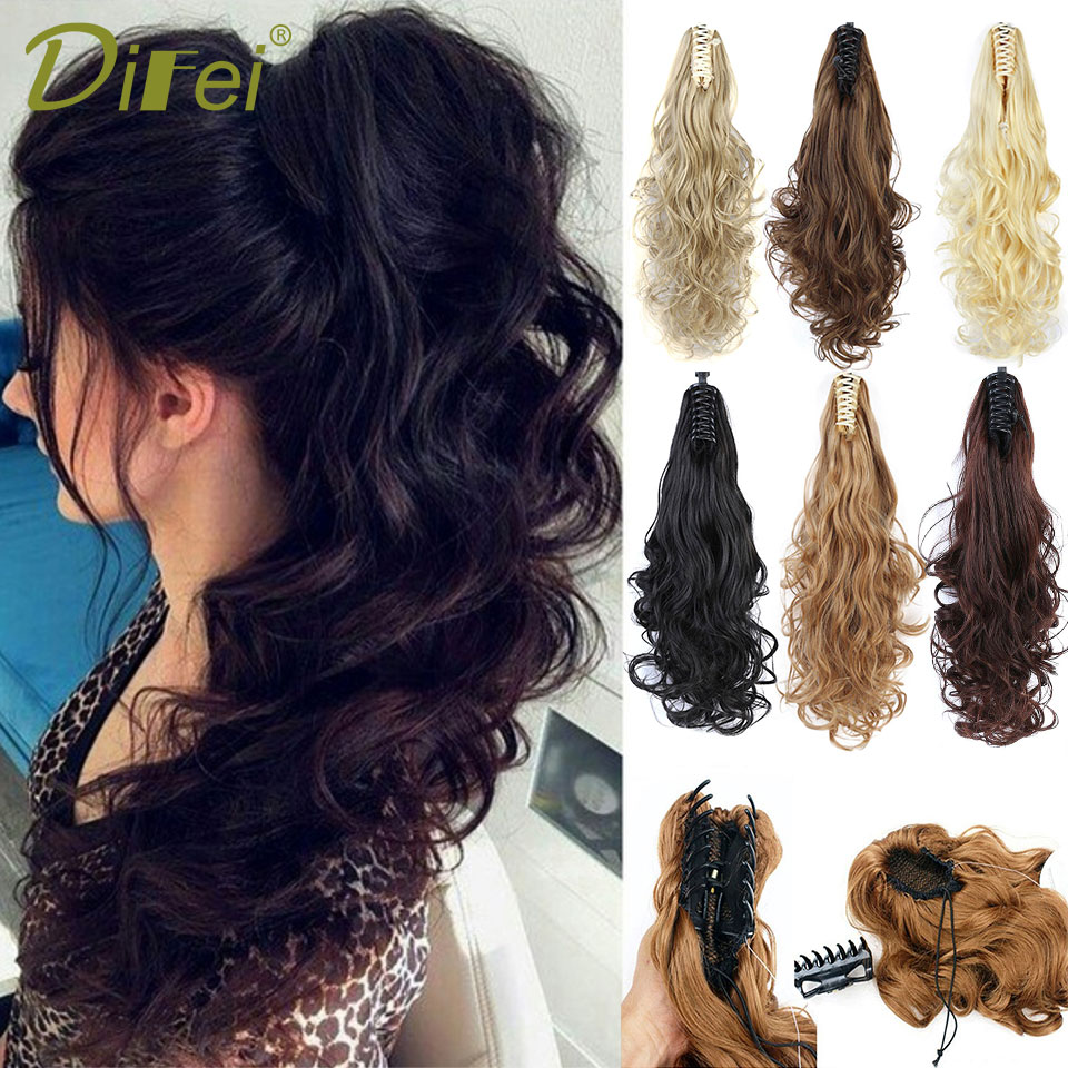 DIFEI Hairpiece Ponytail Blonde Claw-On Clip-In Wavy Curly-Style Brown Black Synthetic title=