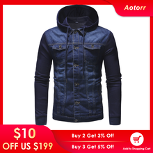 Jackets Man Denim Coat Men Jeans Streetwear High-Quality Hooded Mens Clothes Patchwork