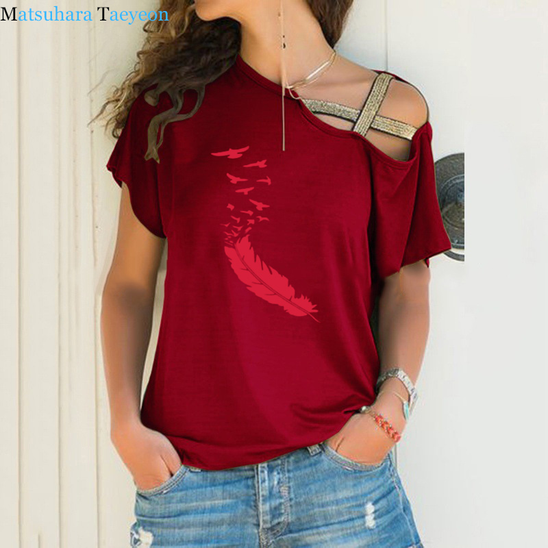 Summer 2020 Women Tshirt Casual Short Sleeves Tops Tees Sexy Irregular Feather Print T-Shirts Loose Plus Size