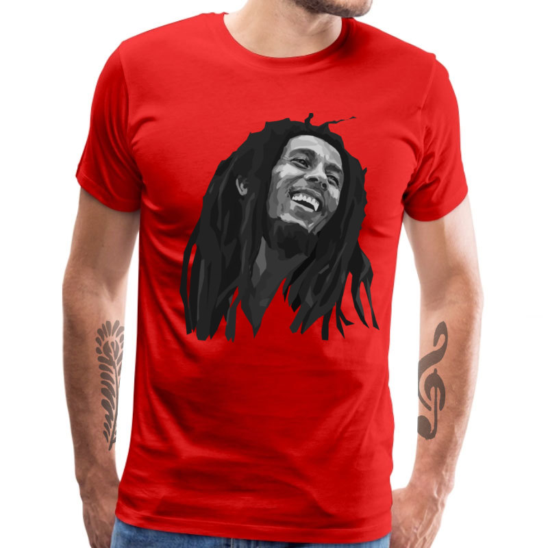 Casual Bob_Marley_1_1249 Short Sleeve Labor Day Tops & Tees 2018 New Fashion Round Collar All Cotton Top T-shirts Men's T-shirts Bob_Marley_1_1249 red