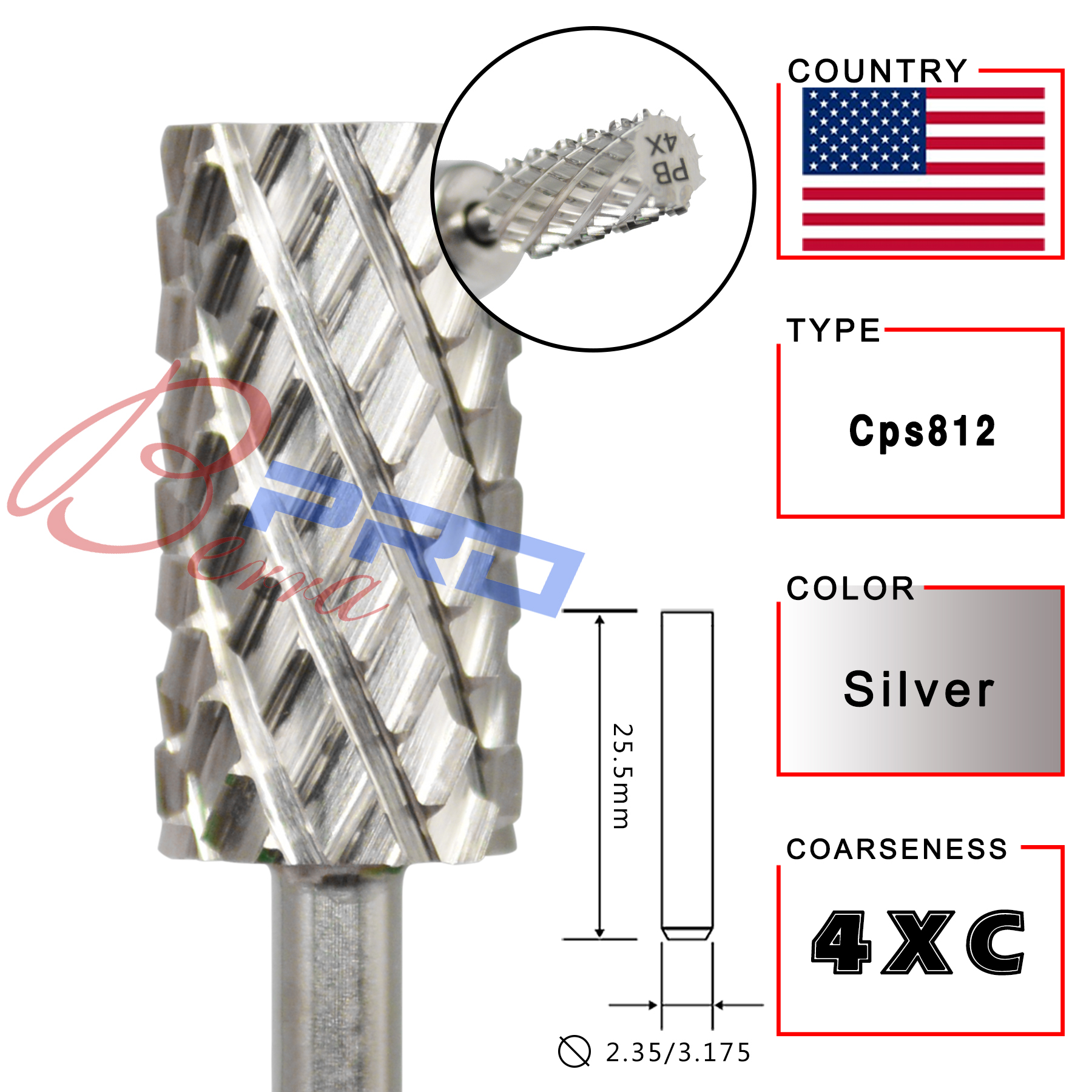Proberra Many Sales promotion type Carbide Tungsten barrel stable shank  Accessories Cutter pedicure nail milling drill bits