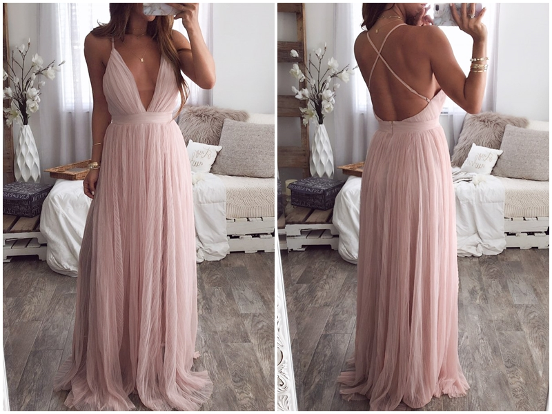 Women Sexy Deep V-Neck Backless Elegant Lace Evening Maxi Long Party Dress