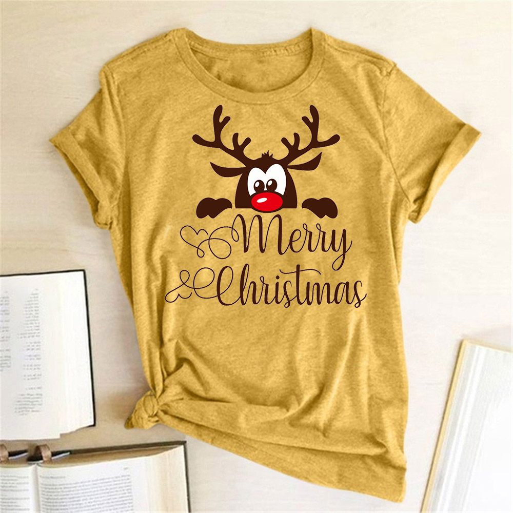 Funny Deer Head Printed Christmas T Shirt Women Short Sleeve Crewneck Harajuku Graphic Tees Shirts Christmas Holiday Gift Tops