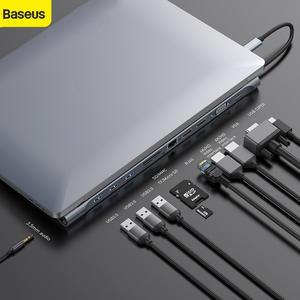 Baseus 11 в 1 мульти USB C концентратор тип C к HDMI VGA RJ45 мульти порты USB 3,0 USB3.0 type-C разветвитель для Macbook Pro Air USB-C концентратор