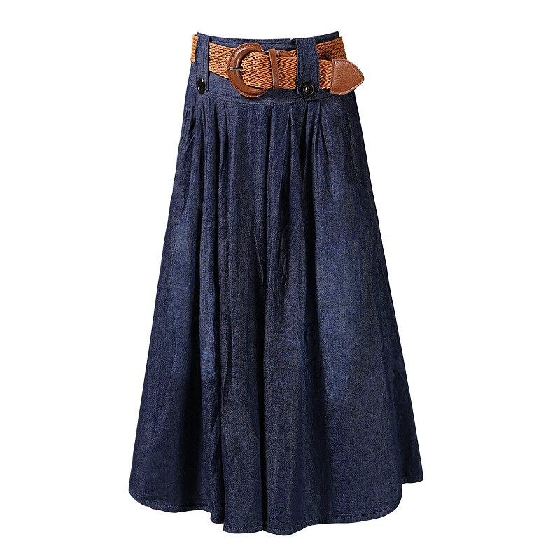 te da ma Ladies Denim Dress National Wind Big Bust Pleated Dress