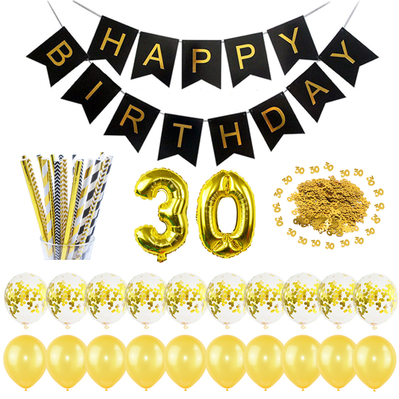 30th Birthday Balloons Garland Banner Confetti Tableware for 30 Years Anniversary Birthday Party Decoration Supplies Photo Prop
