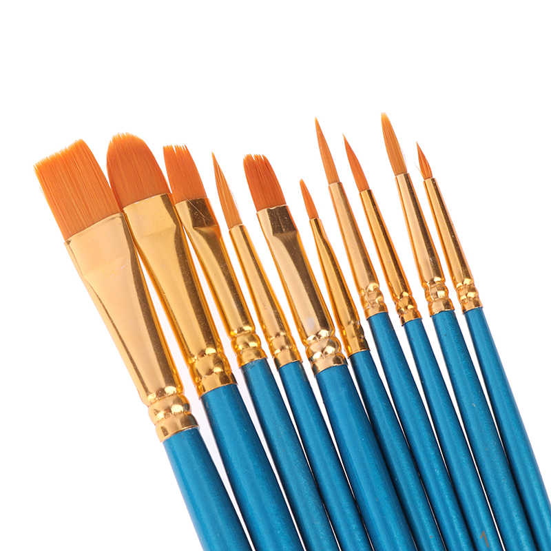 10Pcs Artist Paint Brush Set Nylon Hair Watercolor Acrylic Oil Painting Brushes Drawing Art Supplie