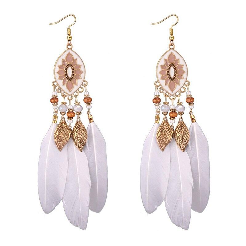 Boucles d'Oreilles Attrape Rêves Blanc Bohème bijoux femme tenue unique style chic et bohème turquoise belle or massif style indien amérindienne capteurs de rêves