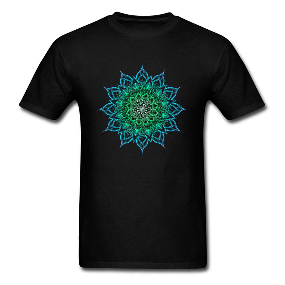 Indian Clothing Shirt Big Size Turquoise Green Mandala Pattern Tee Shirt Men's Classical Print T-Shirt 3D Digital Cotton