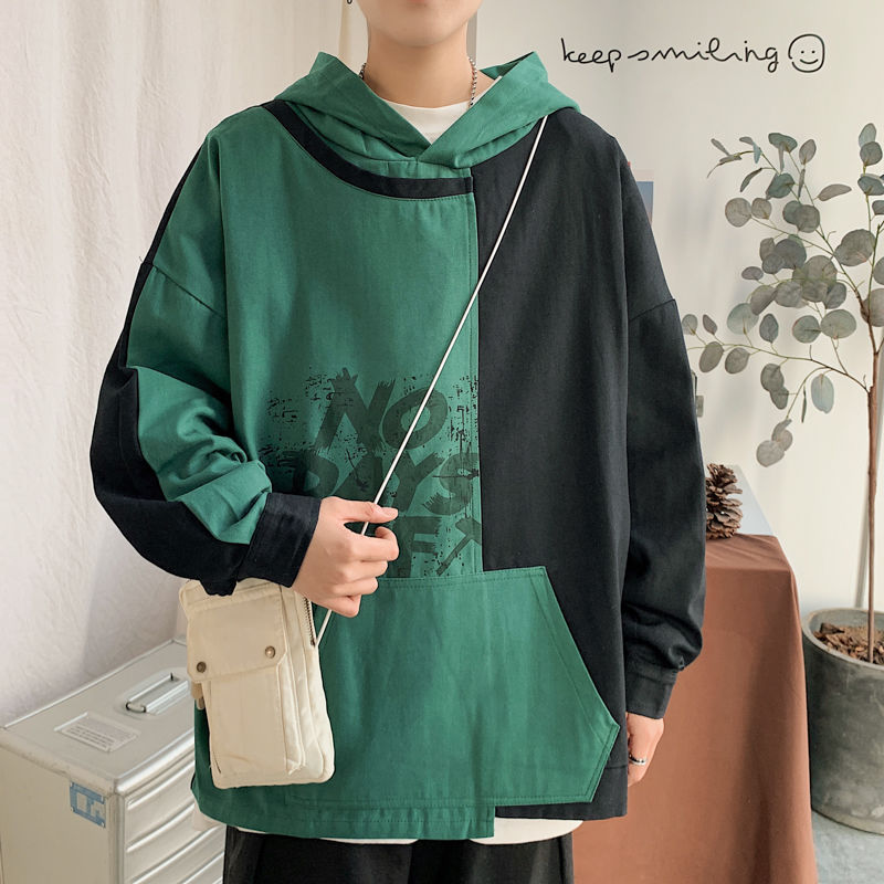 2020 Spring And Autumn New Youth Pop Men/'s Hit Color Loose Hooded Jacket Fashion Casual Letter Printing Shirt Gray / Green