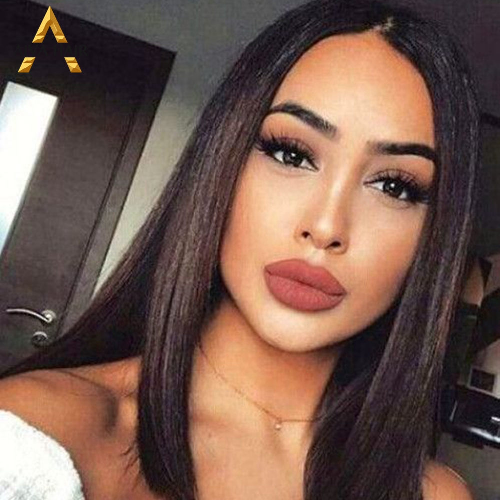Aiva Hair Short Bob Black Wig Straight Synthetic Lace Front Wig High Temperature Fiber Daily Wigs For Balck Women
