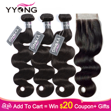 Yyong Body-Wave-Bundles Closure Remy Brazilian with 4pcs/Lot