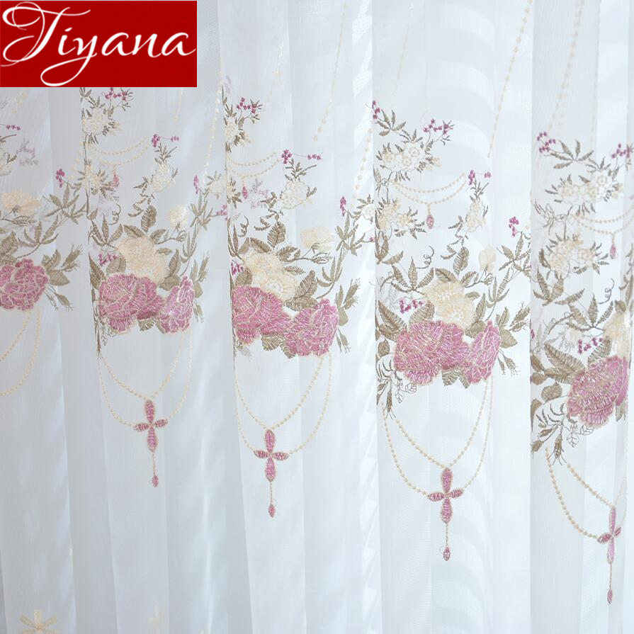 French Romantic Embroidered Voile Window Curtain Floral Design for Living Room Sheer Fabric Treatment M&063#40