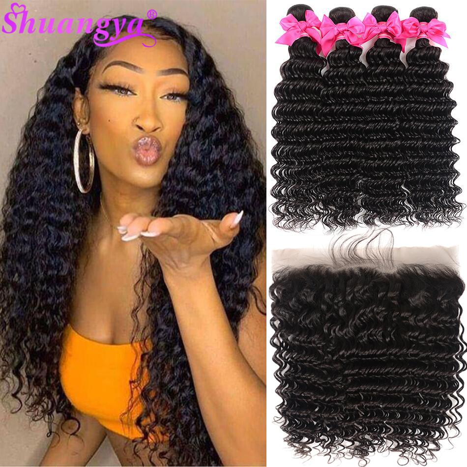 Transparent Lace Frontal With Bundles Peruvian Deep Wave Bundles With Frontal Remy 100% Human Hair With Closure Shuangya hair