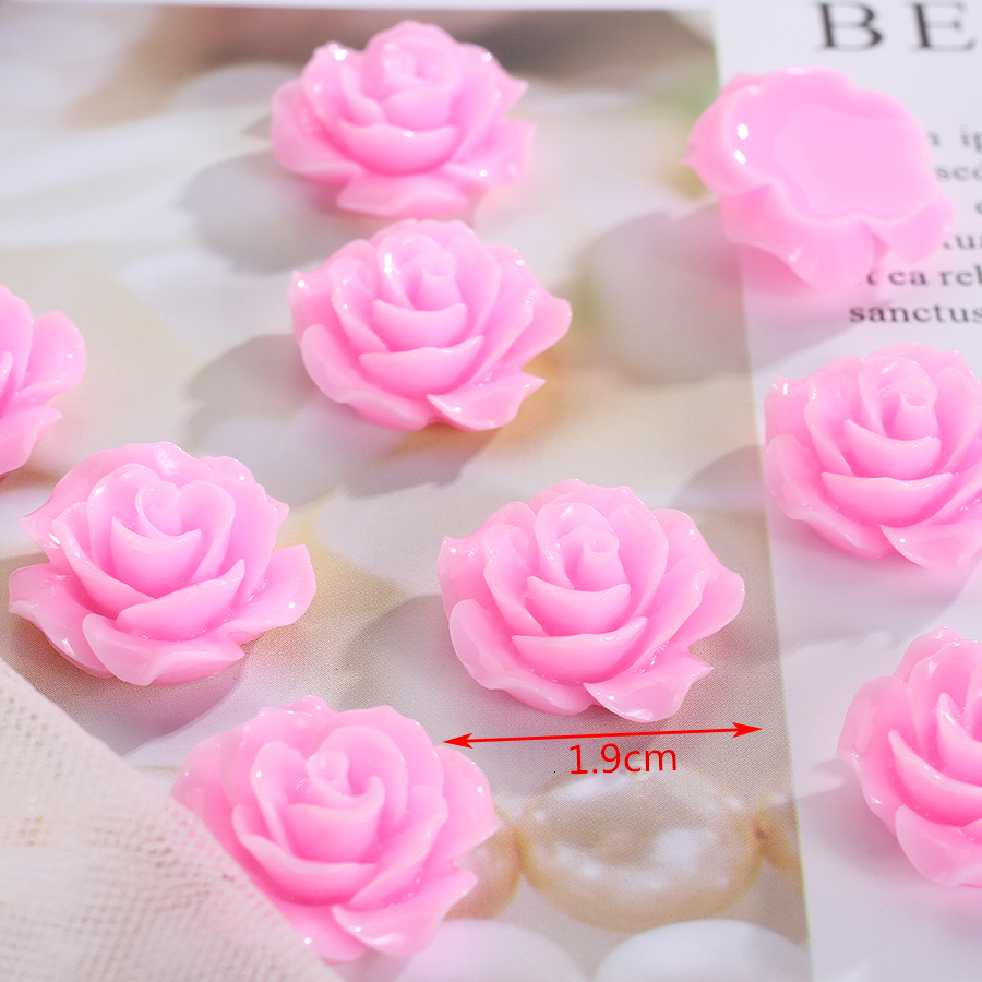 19mm Resin Mixed Colors Flatback Rose Blank Cabochon Charm Finding,Decoration Kit,DIY Accessory Jewelry Making