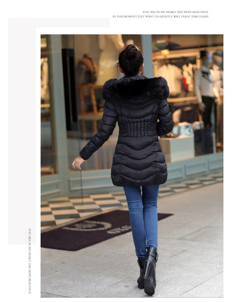 Winter Long Women Coats Parkas Slim Pleated Black Female Coat Outwear Fashion Disassembled Hooded Cotton Women Jackets MLD1271 16