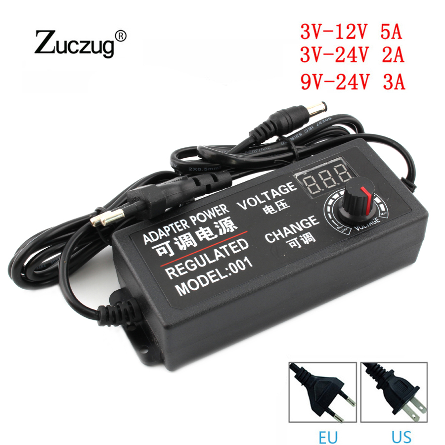 Universal Adjustable AC//DC Power Supply Adapter 3-24V 2A 48W LED Volt Display 4
