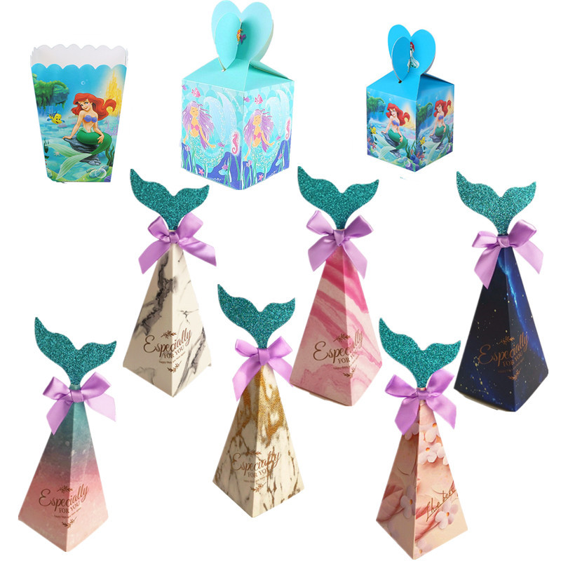 Dessert-Bags Gift-Box Mermaid-Paper Candy Popcorn Hanging Party-Favors-Decoration Wedding title=