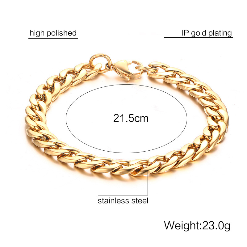 Mens Womens Bracelets in Gold Best Stainless Steel Cuban Curb Link Chain Bracelet Men Fashion Jewerly Accessories Pulseira Masculina 127