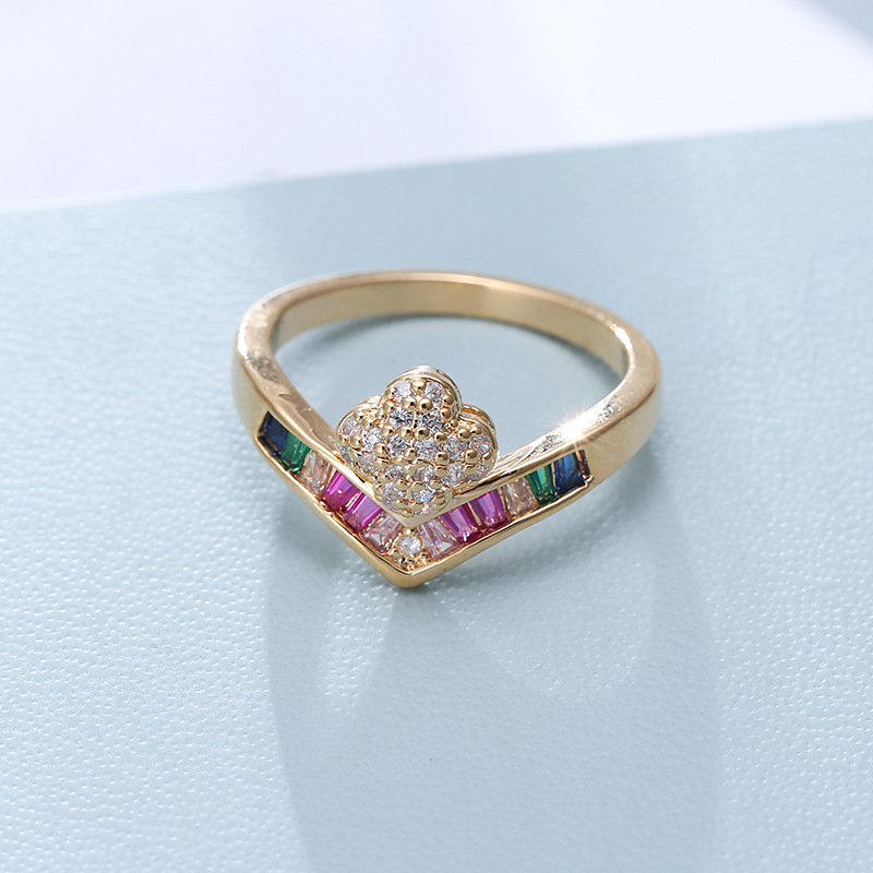 Rainbow Series Fashion Ladies Rings Multicolored Zircon Rings Gifts Wedding Personality Rings