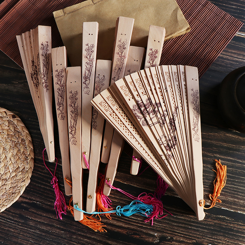 FeiFei66 Fashion Chinese Traditional Hollow Fan Wooden Hand Made Exquisite Folding Wedding Gift
