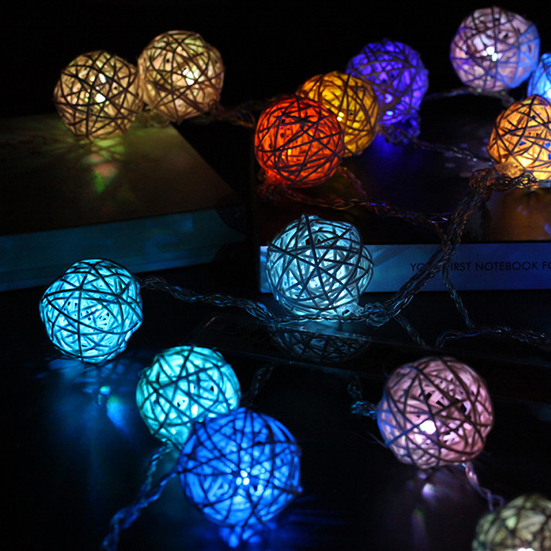 5m Rattan Ball LED String Lights Battery Operated Rattan Ball Light Chain Guirlande Lumineuse Holiday Christmas Lights Garland