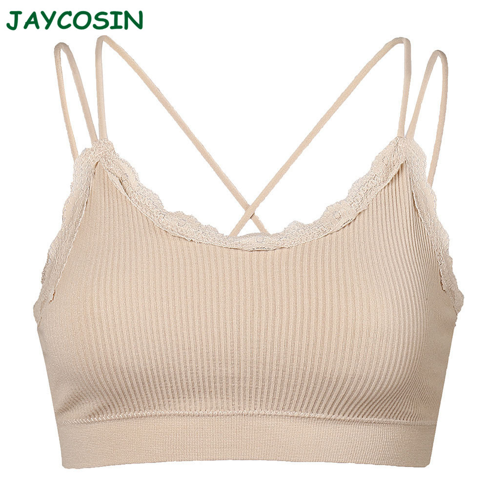 JAYCOSIN Clothes Women Sexy Bandage Solid Color Bra Set Seamless Lace Cross Breathable Full Coverage Sport Underwear Bra 1210