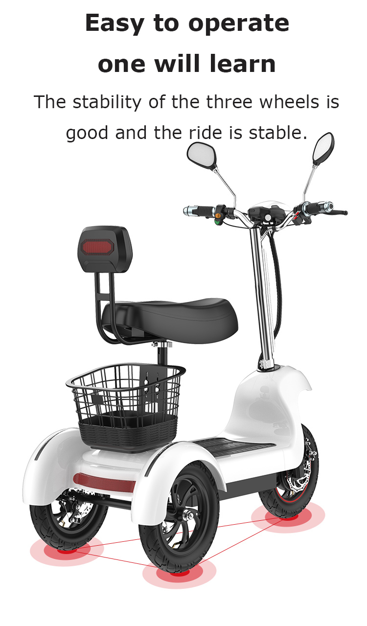 Daibot Electric Tricycle Bike 3 Wheels Electric Scooters Single Motor 500W 48V WhiteBlack Electric Scooter With Seat Adults (2)
