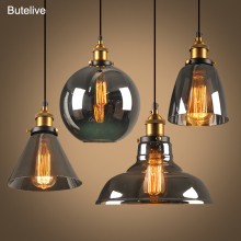 Glass-Pendant-Lamps Pendent Lamparas-De-Techo Loft Industrial Lustre Smoky Grey Modern