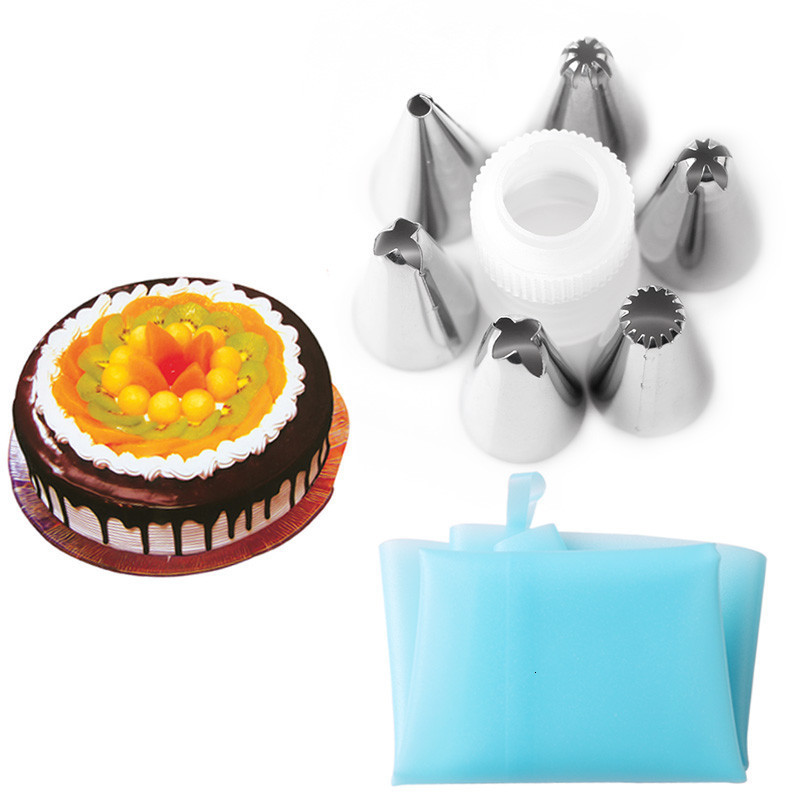 Delidge-7pcs-set-Silicone-Icing-Piping-Cream-Pastry-Bag-With-6pcs-Stainless-Steel-Cake-Decorating-Nozzles