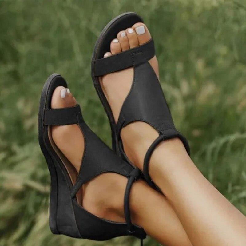 Summer Women Sandals Woman Wedges Shoes Female Gladiator Ladies Vintage PU Leather Women