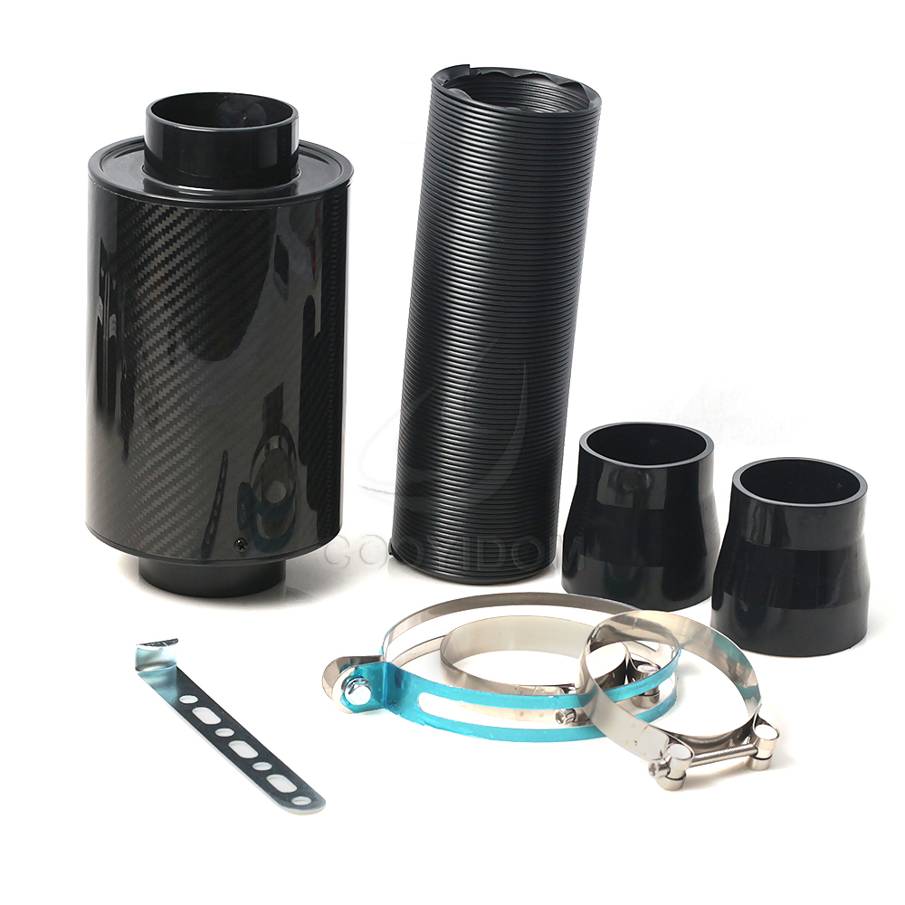 Universal Car 3 Inch Carbon Fibre Cold Air Filter Feed Enclosed Intake Induction Pipe Hose Kit Filtro Filtre COOYIDOM