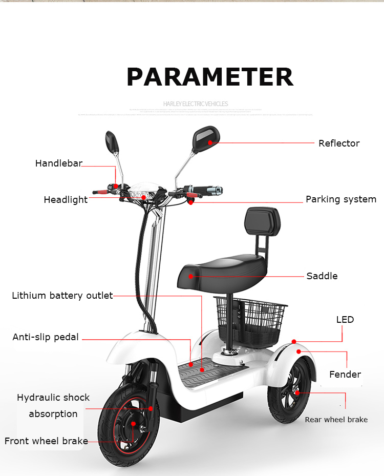 Daibot Electric Tricycle Bike 3 Wheels Electric Scooters Single Motor 500W 48V WhiteBlack Electric Scooter With Seat Adults  (15)