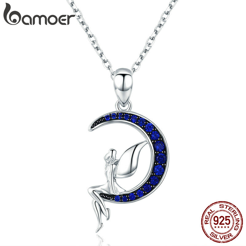 BAMOER Hot Sale 100% 925 Sterling Silver Lucky Fairy in Blue Moon Pendant Necklaces Women Sterling Silver Jewelry Gift SCN244
