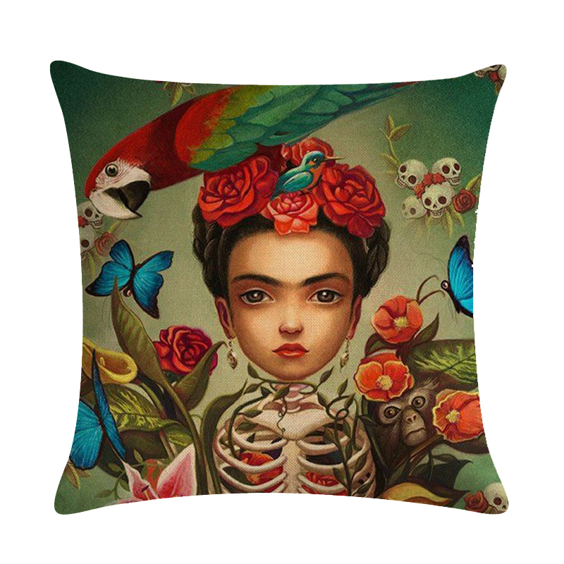 18*18/'/' Painter  Caro woman Decorative Cushion Cover Cotton Linen Square Throw Pillow Cover  Home Office Car Sofa