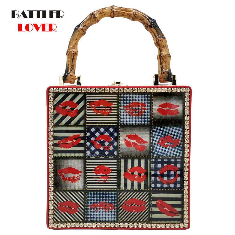 Fashion Cartoon Printing Box Women Handbag Lock Flap Purse Bamboo Handle Pochette Original Designer Damond Lady Shoulder Bags