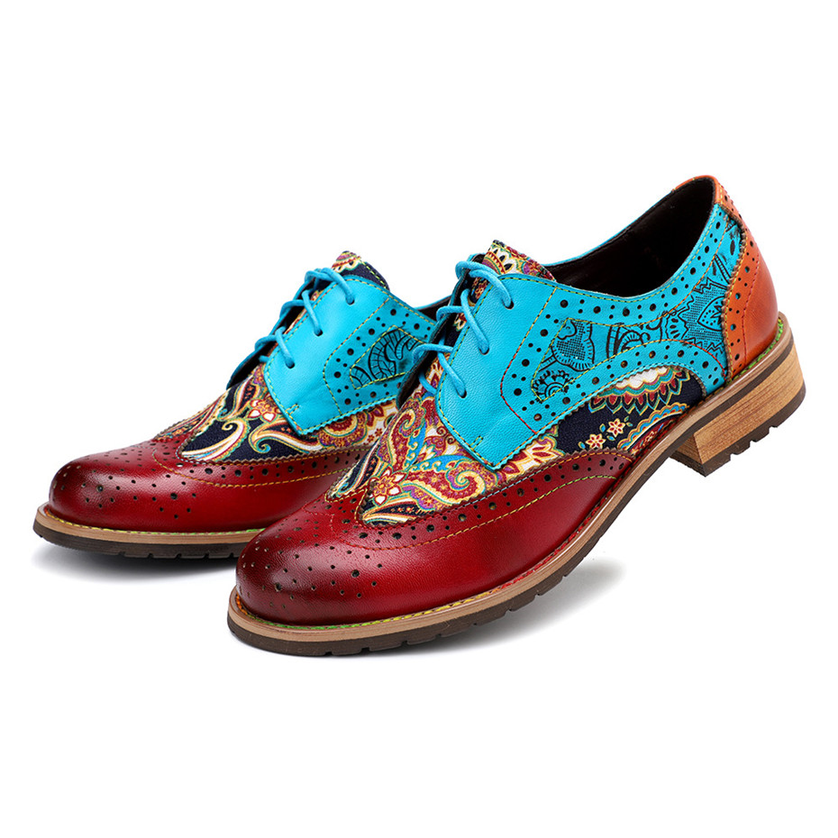 2020 New Spring Casual Women Brogues Shoes Handmade Genuine Leather Women Flats Oxfords Shoes Retro Carved Lace Up  Lady Oxfords (8)