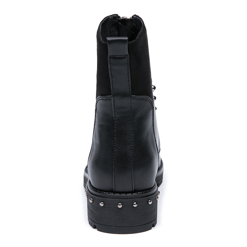 AIMEIGAO Front Zipper Black Ankle Boots For Women Warm Fur Plush Insole Women Boots Low Heel Cool Style Autumn Women Shoes