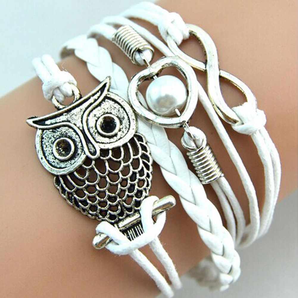 Infinity Owl Braided Bracelets Elegant Imitation Pearl Jewelry Bracelet Bangle All-match Pulsera Dropship