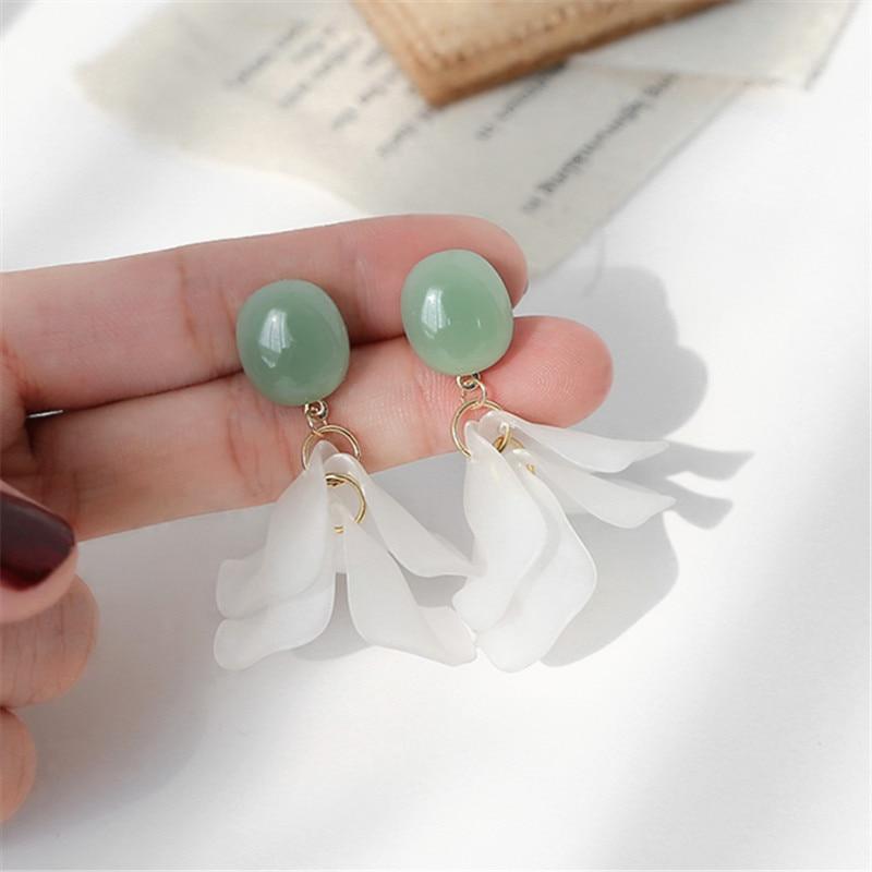 Tassel Acrylic flower earrings female Korean temperament fairy petal earrings Cute Romantic gentle petals earrings for women