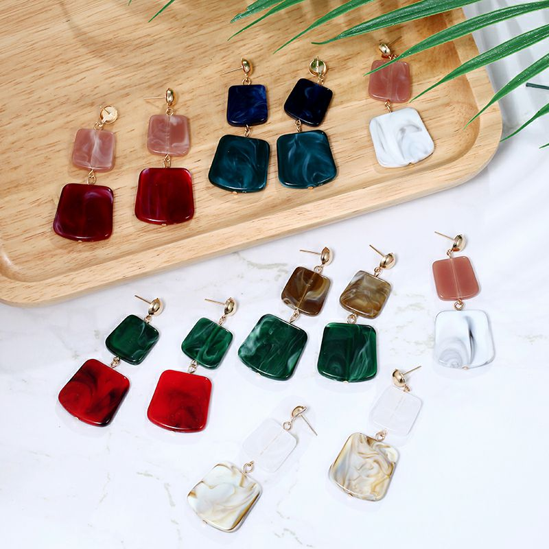 19 Fashion Earring for Women Big Square Acrylic Earrings multiple colour Long Drop Earrings boho jewelry Gift for Best friend 7
