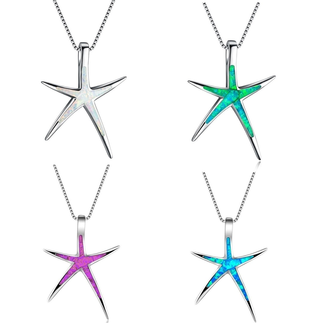 Bohemian Women Starfish Necklace Charm Opal Silver Long Chain Necklace Summer Beach Style Female Party Jewelry Accessories