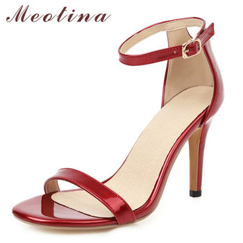 Meotina Women Shoes Ankle Strap Super High Heel Sandals Buckle Strap Stiletto Heels Footwear Summer Sandals Female Red Size 43