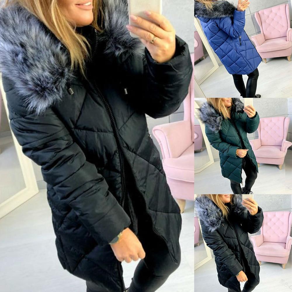 Fashion Warm Hooded Jacket Female Parkas Ladies Thick Parkas Coats 2019 Autumn Winter New Drawstring Waist Design Jackets