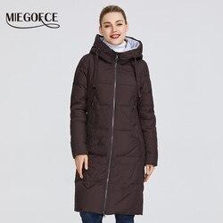 MIEGOFCE 2019 Новая зимняя женская коллекция курток средней длины теплое пальто с капюшоном европейский и американский стиль на открытом воздухе...