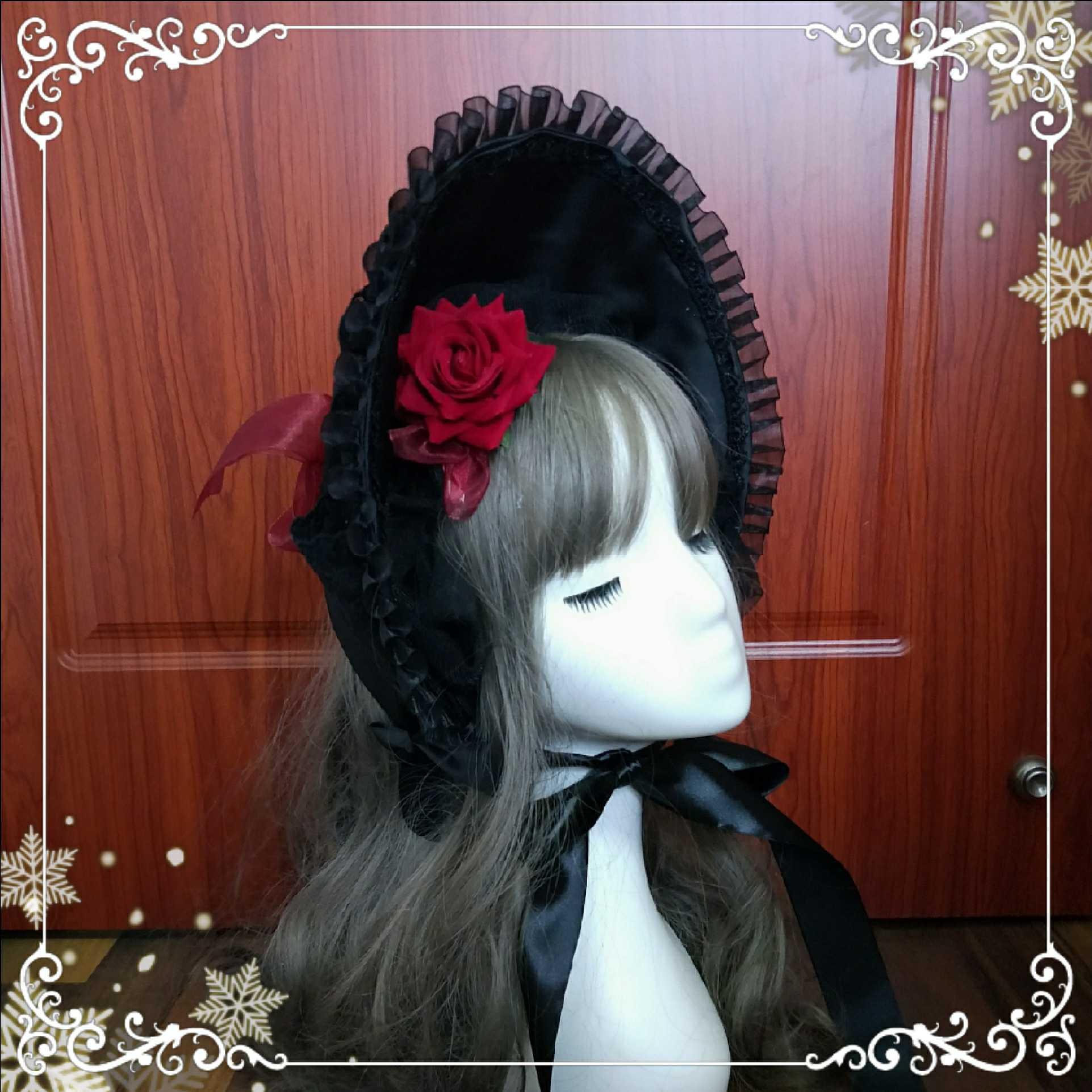 Vintage Lace Trim Rose Lolita Bonnet Victorian Soft Wire Brim Bonnet Sun Hat