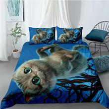 Bedding-Set Sheet Pillow-Case Alice Wonderland Children Cat 3pcs/Set