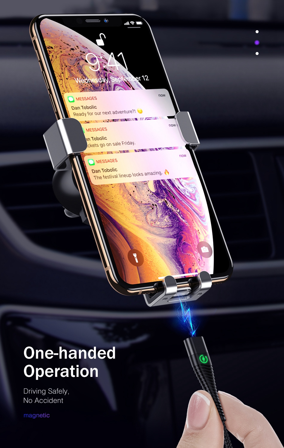 ROCK LED Light Magnetic Charge Cable Micro USB Cable For iPhone XR XS Max X Magnet Charger USB Type C Charging Wire Cord 1M 2M 6